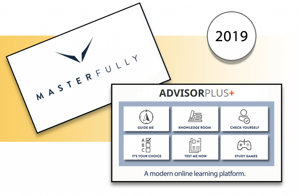 Masterfully 2019. Masterfully on a card with Advisor Plus learning platform image.